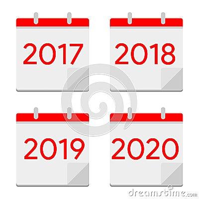 Flat design calendar icons 2017, 2018, 2019, 2020. New year symbol Vector Illustration