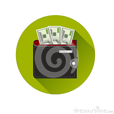 Free Flat Design Cash Symbol Purse With American Money Stock Images - 40827084