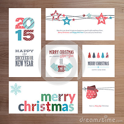 Free Flat Design Christmas And New Year Greeting Card Templates Royalty Free Stock Photos - 46125708