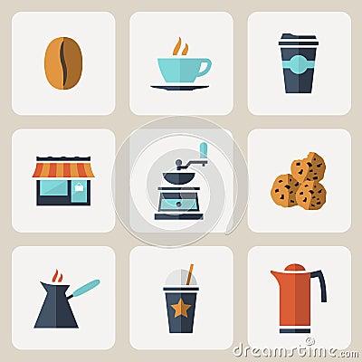 Free Flat Design Coffee Icons Set Royalty Free Stock Photo - 42743415