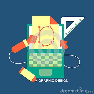 Flat design concept of graphic design