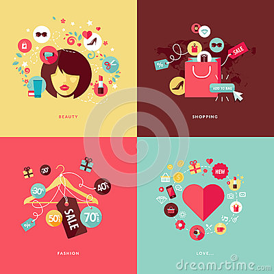 Free Flat Design Concept Icons For Beauty And Shopping Stock Image - 39326451
