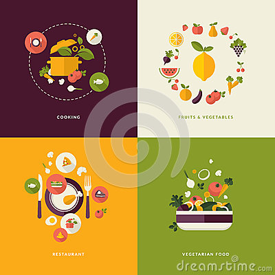 Free Flat Design Concept Icons For Food And Restaurant Royalty Free Stock Image - 38809846