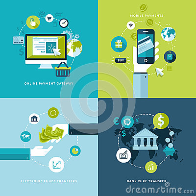 Free Flat Design Concept Icons Of Online Payment Method Stock Photo - 38342880