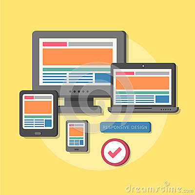 Flat design concept of responsive design