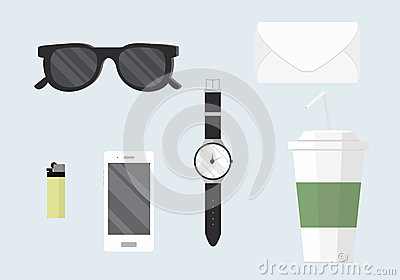 Flat design concept vector illustration of every day carry and outfit accessories Vector Illustration