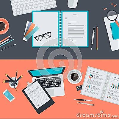 Flat design concepts for creative project, graphic design development, business