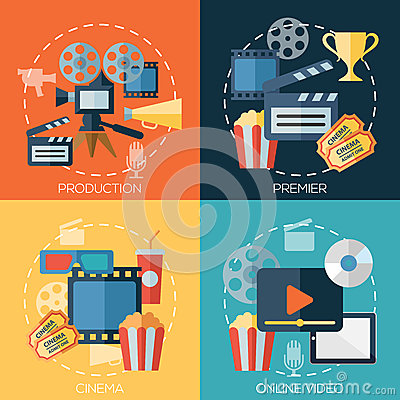 Free Flat Design Concepts For Cinema, Movie Production Royalty Free Stock Images - 51772599