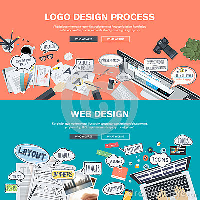 Free Flat Design Concepts For Logo Design And Web Design Development Stock Photography - 51162842