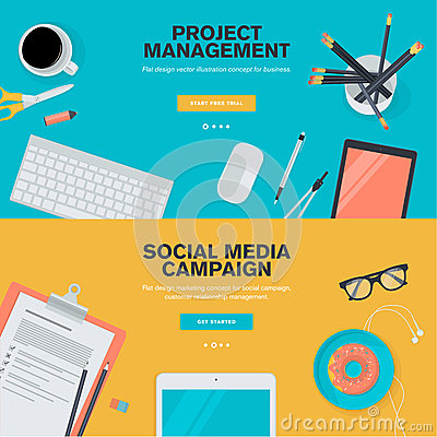 Free Flat Design Concepts For Project Management And Social Media Campaign Royalty Free Stock Photography - 49871967