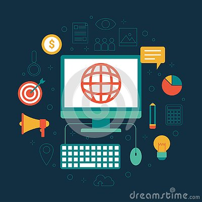Free Flat Design Digital Marketing Icon Set With Computer And Internet Stock Photography - 139305592