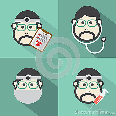 Free Flat Design Doctor Icon With Long Shadow Effect Stock Images - 46408784