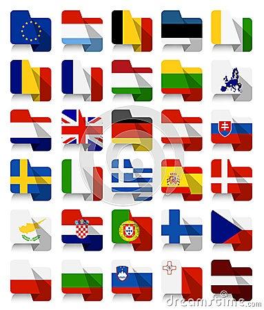 Free Flat Design European Union Waving Flags Royalty Free Stock Photos - 65638638