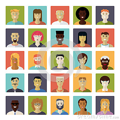Free Flat Design Everyday People Avatar Vector Icon Set Stock Image - 50739881