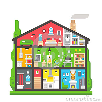 Flat Design Home Interior Side View Stock Vector Image