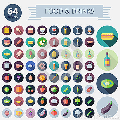 Free Flat Design Icons For Food And Drinks Royalty Free Stock Photo - 44884125