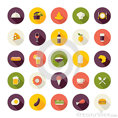Flat design icons for restaurant, food and drink