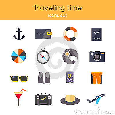 Flat design. icons set of planning a summer vacation travelling, holidays, journey, tourism, travel objects, passenger Vector Illustration