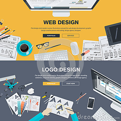 Free Flat Design Illustration Concepts For Web Design Development, Logo Design Royalty Free Stock Image - 50397446