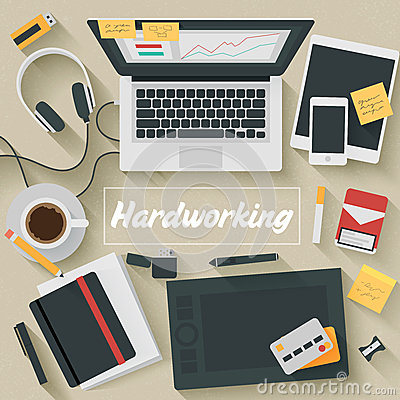 Free Flat Design Illustration: Hardworking Stock Photo - 46036820