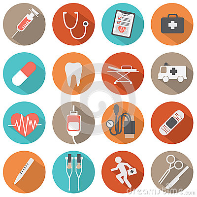 Free Flat Design Medical Icons Royalty Free Stock Photography - 40539447