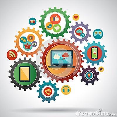 Flat design modern vector illustration concept of social media