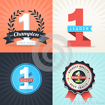 Free Flat Design Number One Winner Ribbons And Badges Stock Image - 36627031