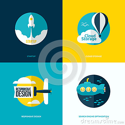 Free Flat Design Of The Startup Process, Cloud Storage, Web Design Royalty Free Stock Photo - 39410205