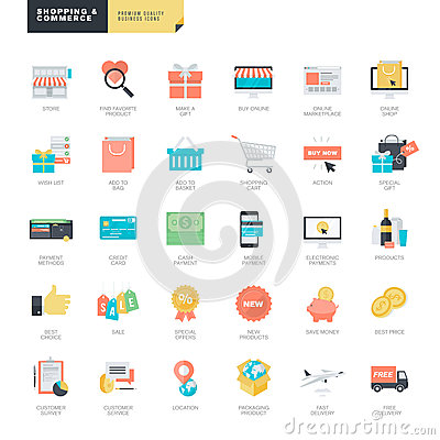Free Flat Design Online Shopping And E-commerce Icons For Graphic And Web Designers Royalty Free Stock Photo - 52028245