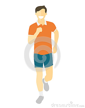 Free Flat Design Running Man. Boy Run, Front View. Vector Illustration For Healthy Lifestyle, Weight Loss, Health And Good Habits Artic Stock Image - 79247031