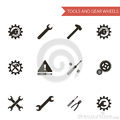 Flat Design Style Black Tools Gear Wheels Icons