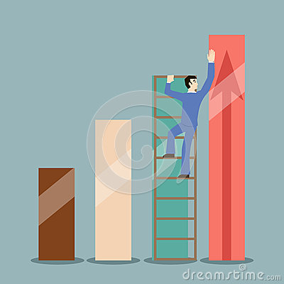 Flat design style businessman stretches to