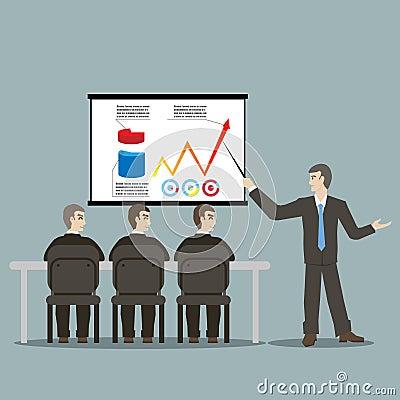 Flat design style cartoon meeting businessman