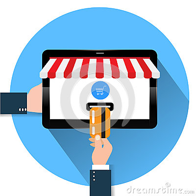 Flat design style illustration of modern smartphone with the processing of tablet payments from credit card on the screen Near fie Cartoon Illustration