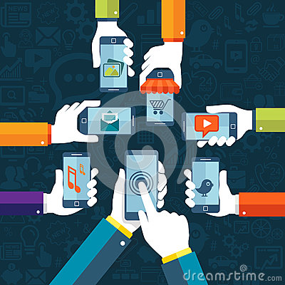 Free Flat Design Vector Mobile Apps Concept With Web Icons Stock Photos - 54059823