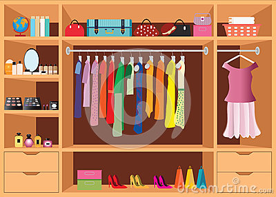 Flat Design Walk In Closet With Shelves. Cartoon Vector ...