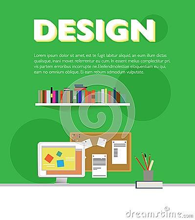 Flat Designer Workplace Elements Template Vector Illustration