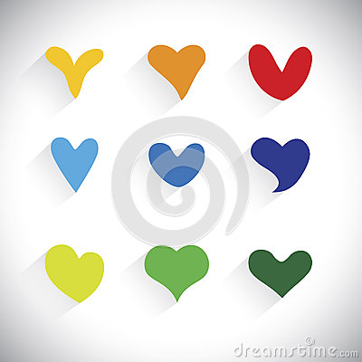 Free Flat Designs Of Colorful Heart Shape Icons - Vector Graphic Royalty Free Stock Photography - 40606817