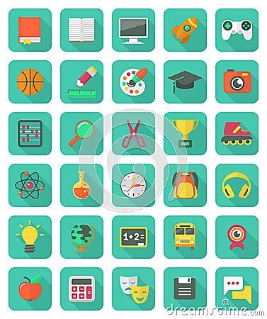 Free Flat Education And Leisure Icons Set Stock Photo - 34328380