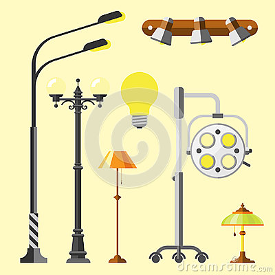 Free Flat Electric Lantern City Lamp Street Urban Lights Fitting Illuminator Technology Light Bulb Electricity Vector Royalty Free Stock Photography - 95192127