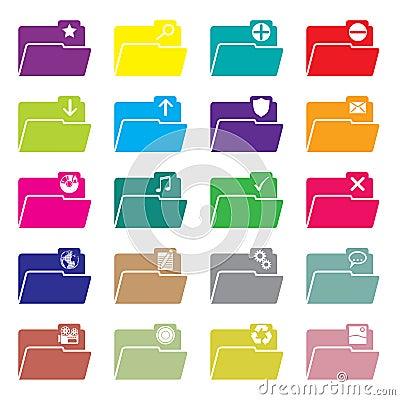 Flat folder icon set of 20