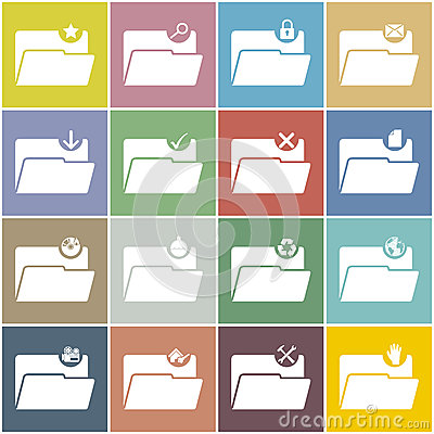 Free Flat Folder Icon Set With Color Background Stock Image - 35862411