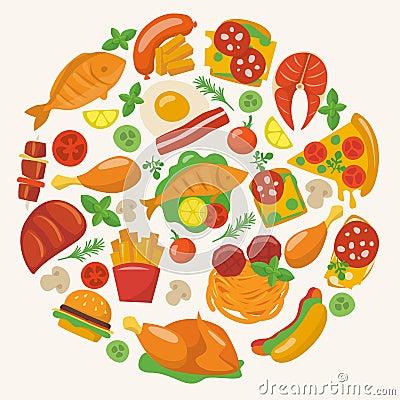 Free Flat Food Icons Royalty Free Stock Image - 51025476