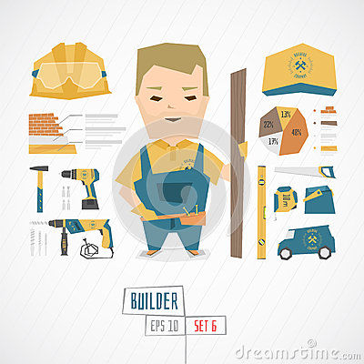 Free Flat Funny Charatcer Builder Royalty Free Stock Photo - 66806315
