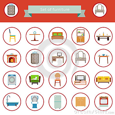 Flat Furniture Icons and Symbols Set for Living Room Isolated Vector Illustration Vector Illustration