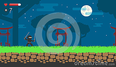 Flat game about the ninja for android. Online flash game. Japanese background for level. Vector Illustration