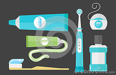 Flat health care dentist chemical color medical glue tool healthcare system concept and medicine toothpaste hygiene Vector Illustration