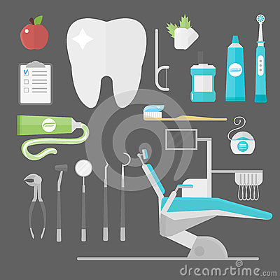 Flat health care dentist symbols research medical tools healthcare system concept and medicine instrument hygiene Vector Illustration