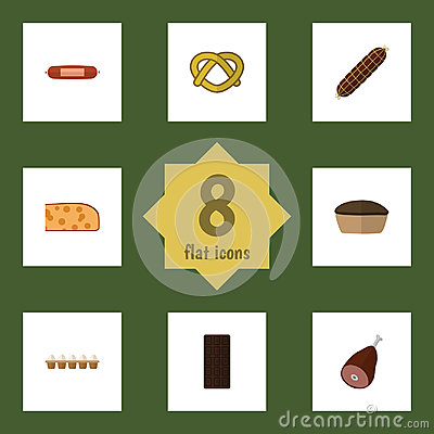Flat Icon Meal Set Of Cookie Vector Illustration