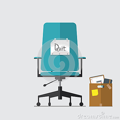 Free Flat Icon Of Business Chair With Quit Message On Paper And Cardboard Box Royalty Free Stock Images - 48859139